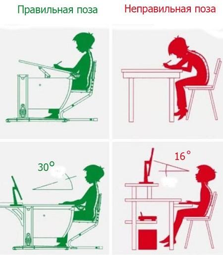 правильная позиция ребенка за столом